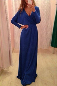 Blue Long Sleeve Belted Jersey Maxi Dress