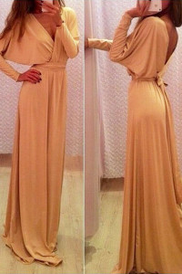Champagne Long Sleeve Belted Jersey Maxi Dress