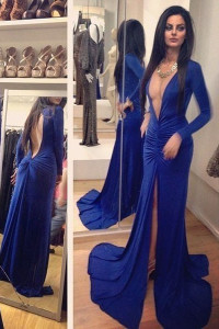 Royal Blue Deep V Neckline Pleated Hollow-out Jersey Dress