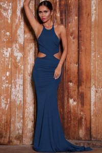 Blue Bold Cut Lace-up Back Floor-length Jersey Dress