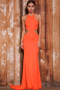 Orange Bold Cut Lace-up Back Floor-length Jersey Dress