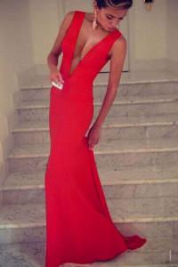 Red Plunge V Sleeveless Jersey Maxi Dress