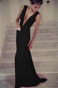 Black Plunge V Sleeveless Jersey Maxi Dress