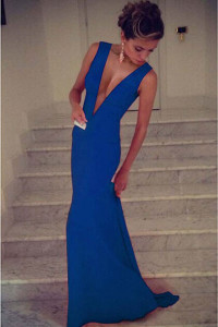 Royal Blue Plunge V Sleeveless Jersey Maxi Dress