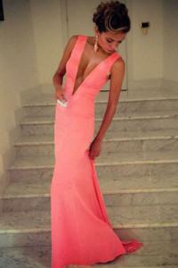 Pink Plunge V Sleeveless Jersey Maxi Dress