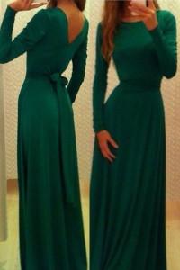 Emerald Belted V Neck Back Jersey Maxi Dress