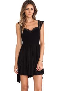 Cascading Rippled Black Skater Jersey Dress