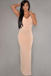 Pink Cut-Out Back Jersey Maxi Dress