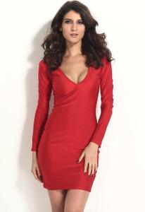 Red Body-hugging Plunging V Neck Jersey Midi Dress
