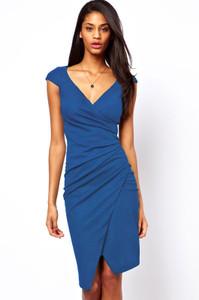 Blue Ruched Jersey Wrap Midi Dress Medium Size