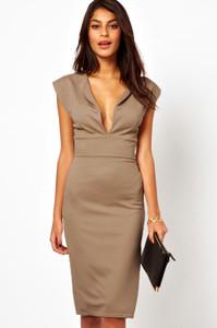 Khaki Deep V Jersey Midi Dress