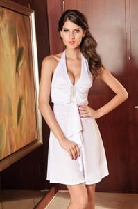 Elegant Jersey Dress Halter Rhinestone Look White