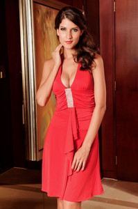 Elegant Evening Dress Halter Rhinestone Look Red