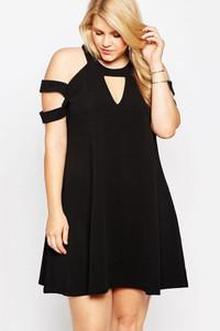 Black Plus Size Cold Shoulder Swing Dress