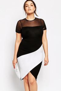 Black Plus Size Curve Body-conscious Asymmetric Color Block Dress
