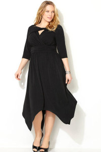 Black Plus Size Cutout Handkerchief Hem Dress