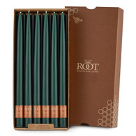 """12"""" Taper Candle Dark Green Box of 12 Candles"""