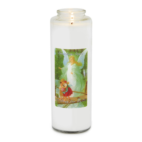 Front of candle.