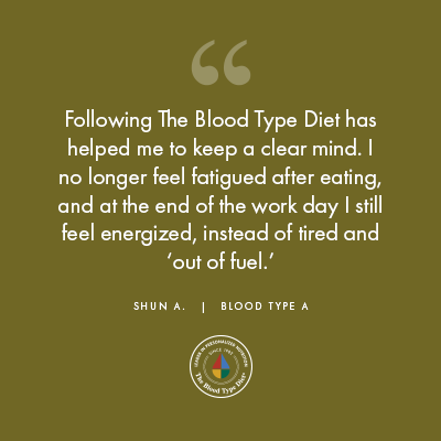 Shun A. - Blood Type Diet Success Story
