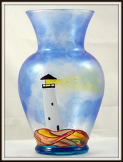 Hand-painted Lighthouse Urn Vase