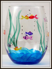 Hand-painted Fish Stemless Goblet