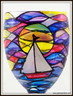 Hand-painted Sunrise Goblet - magnified view