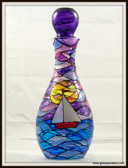 Hand-painted Sunset Decanter