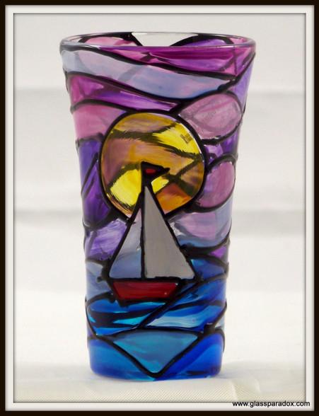 Hand-painted Sunset Shot Glass