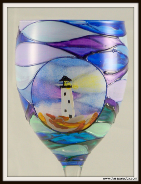 Hand-painted Spyglass Goblet - enlarged view