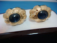 18k Yellow Gold Cuff Links with Unique Star Sapphire