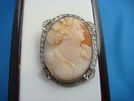 UNIQUE VINTAGE CAMEO 14K WHITE GOLD FILIGREE BROOCH