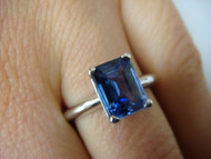 1.85 CARAT TANZANITE EMERALD CUT SOLITAIRE PLAIN CLASSIC SETTING RING