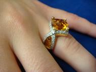 CITRINE AND DIAMONDS DESIGNER RING, 18K SOLID GOLD.