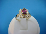 "14K GOLD RED TOURMALINE AND ""BALLERINA"" DIAMONDS LADIES HIGH END RING"