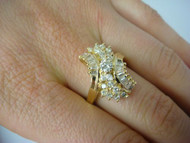 Ladies 18K Yellow Gold and 1.75 TCW Baguette and Round Diamonds Cocktail Ring