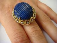 Vintage Handmade Golden Lapis Lazuli and Diamonds Ladies Ring.