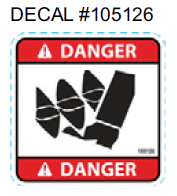 105126 } DECAL DANGER AUGER