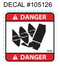 105126 } DECAL DANGER AUGER