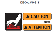 105133 } DECAL CAUTION HOT SURFACE
