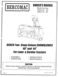 "700211-0 } Berco Two Stage Deluxe Snowblower 40 & 44"" for Lawn and Garden Tractors"
