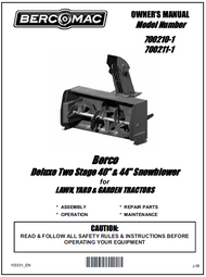 700211-1 } 44'' Deluxe Snowblower Hydraulic or Manual Lift (Belt: see subframe manual)