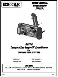 700255-1 } 40'' Compact Snowblower Manual Lift (Belts: see drive manual)