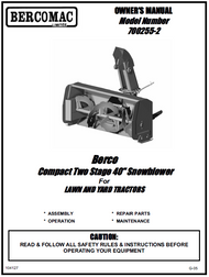700255-2 } 40'' Compact Snowblower Manual Lift (Belts: see drive manual)