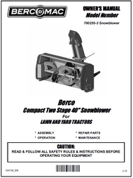 700255-3 } 40'' Compact Snowblower Manual Lift (Belts: see drive manual)