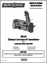 700255-4 } 40'' Compact Snowblower Manual Lift (Belts: see drive manual)