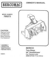 700273 } Two-Stage 44¨ Snowblower for tractors with 2000 R.P.M P.T.O Drive