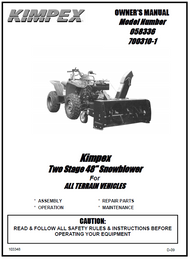 "58336 } Kimpex Two Stage 48"" Snowblower For ALL TERRAIN VEHICLES"