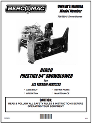700360-5 } 54'' Prestige Snowblower (with saddle, timing belt & 2'' wide universal subframe)