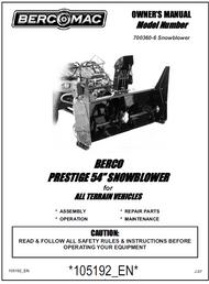 700360-6 } 54'' Prestige Snowblower (with saddle, timing belt & 2'' wide universal subframe)