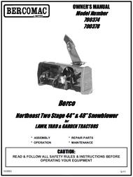 700378 } 48'' Northeast Snowblower Manual Lift (Belts: see drive manual)